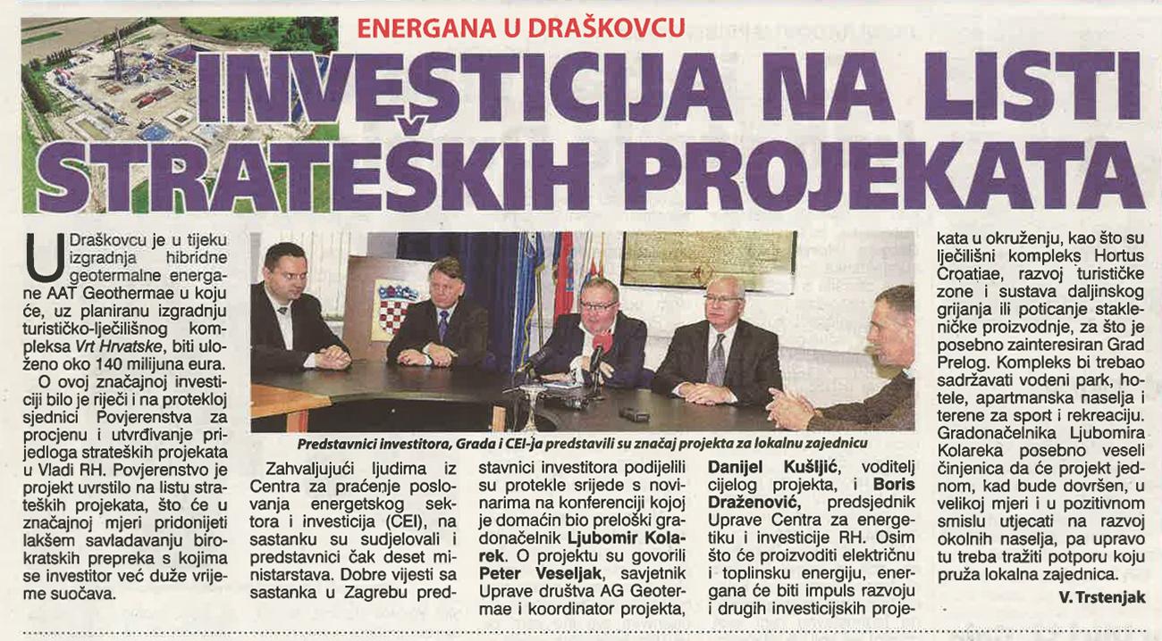 Međimurske novine – Investicija na listi strateških projekata