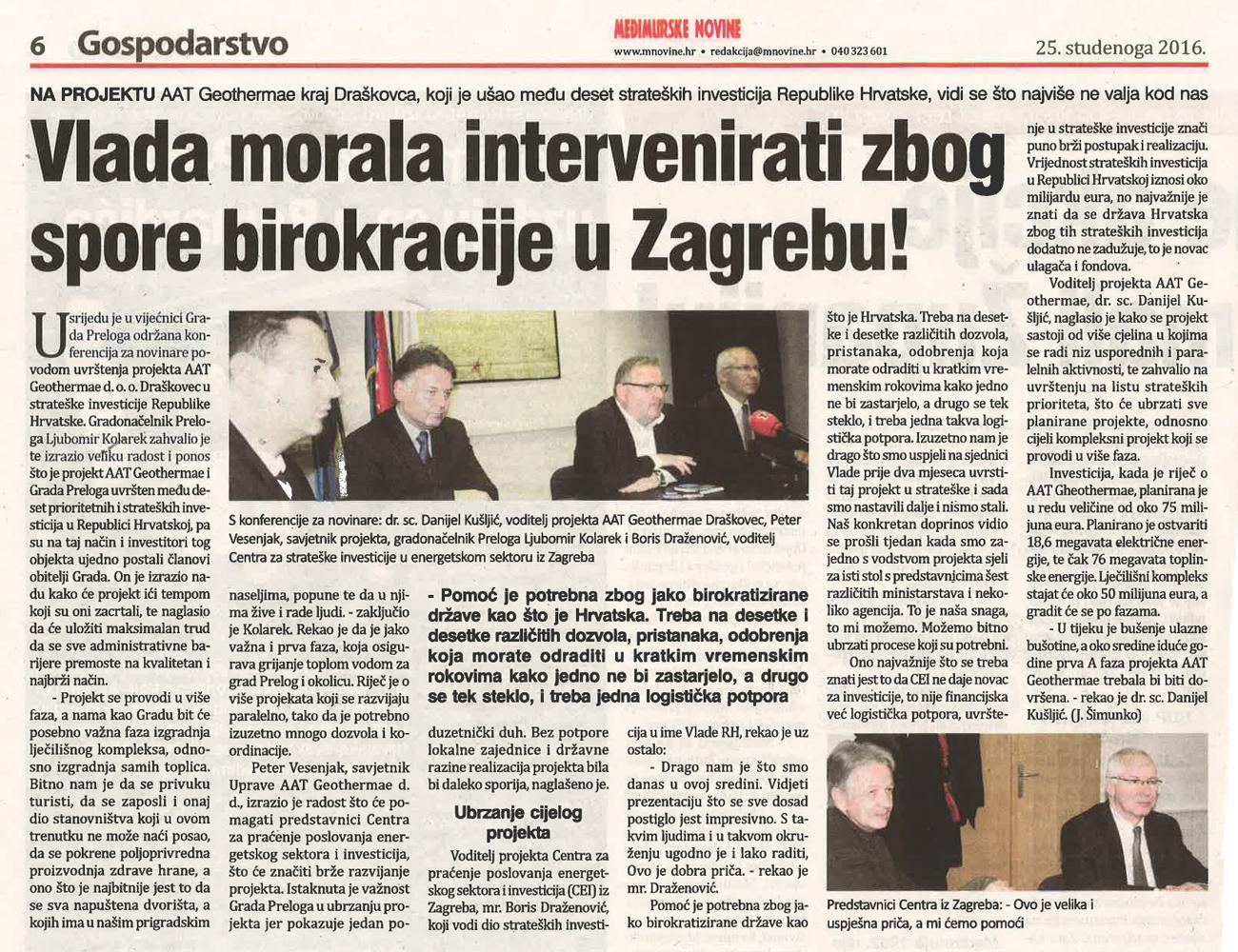 Međimurske Novine – Vlada morala intervenirati zbog spore birokracije u Zagrebu!